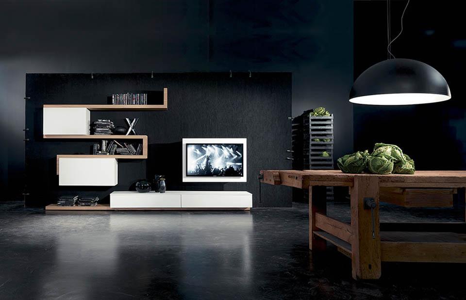 Soggiorni moderni Side System con porta TV Rack Box orientabile ...
