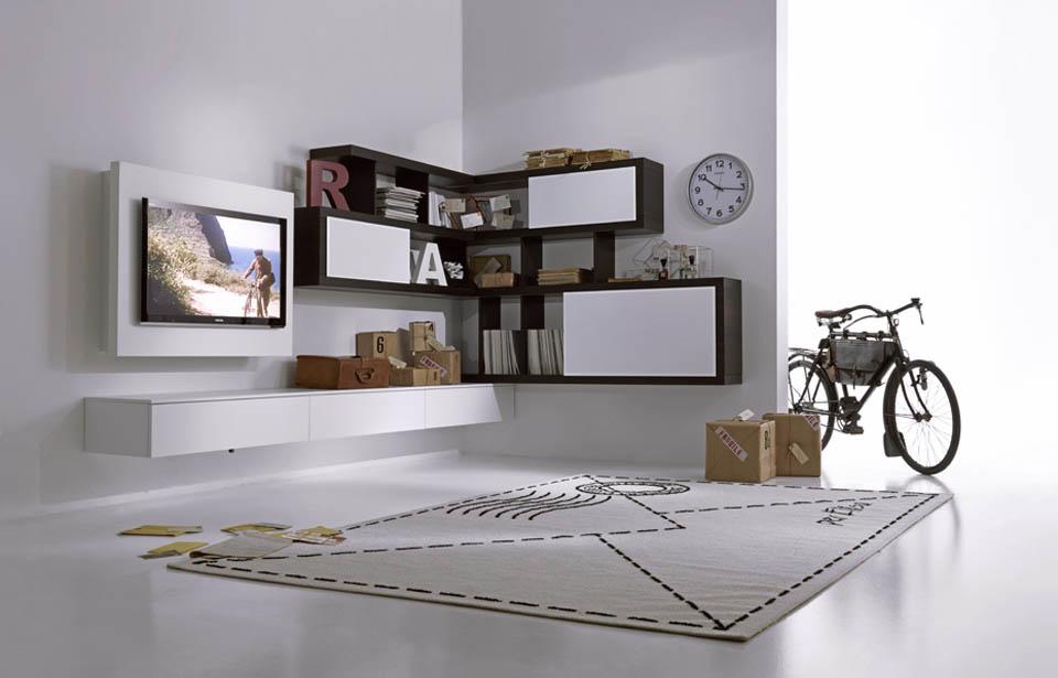 Soggiorni porta tv soggiorni moderni librerie moderne for Parete attrezzata design moderno